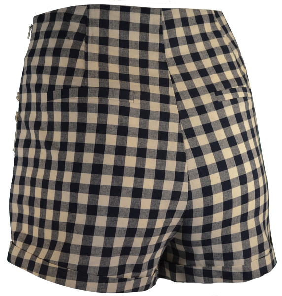 Navy Gingham Shorts with Daisy Detail