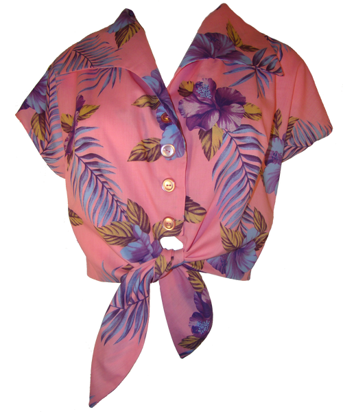Pink Floral Tie Up Crop Blouse
