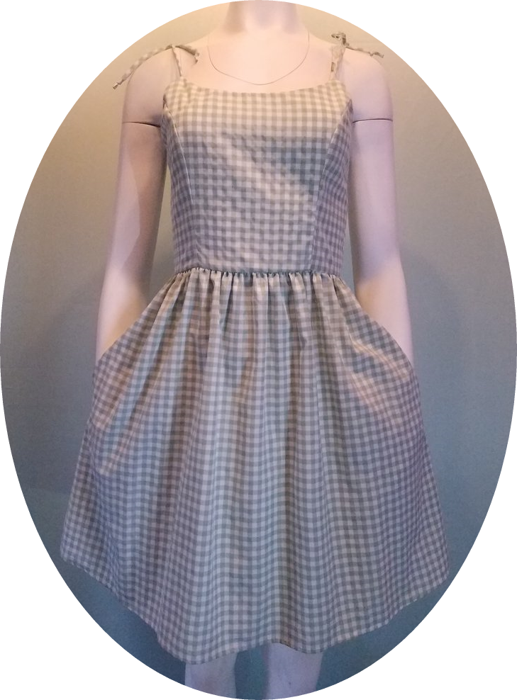 Sage Gingham Summer Dress