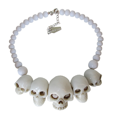 Skull Collection Necklace in White