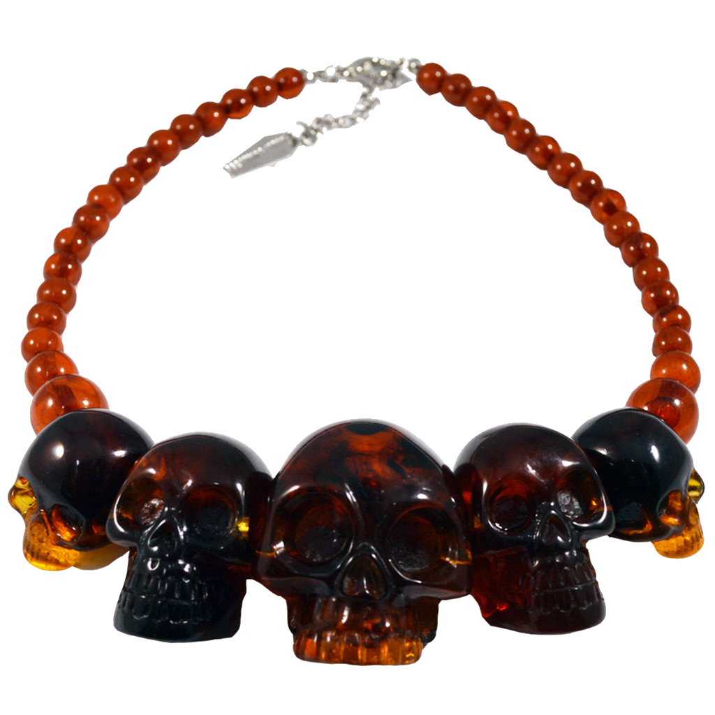 Skull Collection Necklace in Amber