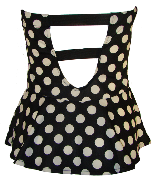 Black Polka Dotted Peplum Top