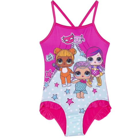 L.O.L. Surprise! lol Girls One Piece Swimsuit, Swimming Costume 2-8 Years - Fuchsia