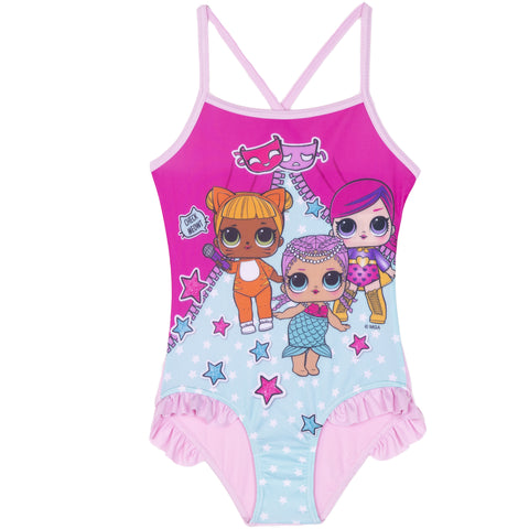 L.O.L. Surprise! lol Girls One Piece Swimsuit, Swimming Costume 2-8 Years - Light Pink