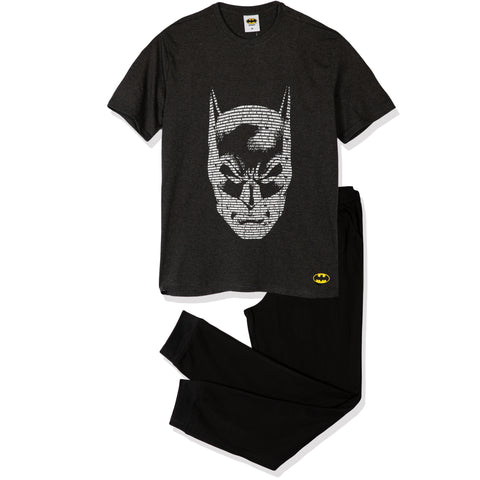 Batman Men's Pyjamas, T-Shirt and Trousers Set M- XXL - Grey/Black