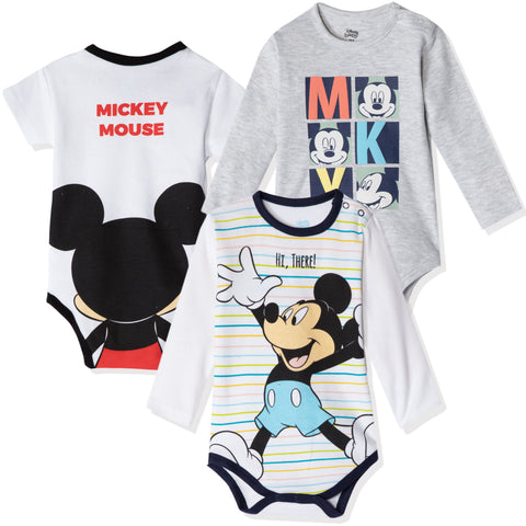 Disney Mickey Mouse Baby Boys Babygrow Bodysuits Set of 3 - 0-24 months