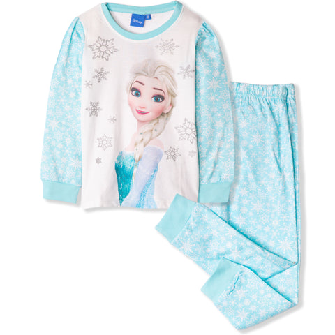 Disney Frozen Girls Long Sleeve Cotton Pyjamas 3-9 Years - Snow Flakes, Blue