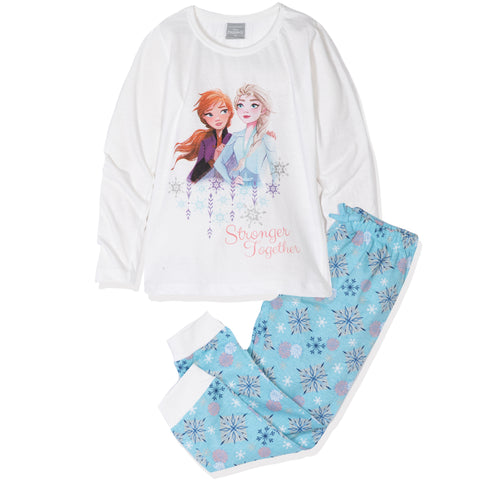 Disney Frozen II Long Sleeve 100% Cotton Pyjamas Set for Girls 2-8 Years - White