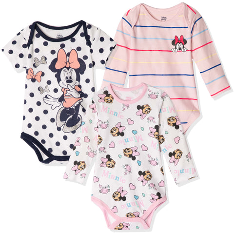 Disney Minnie Mouse Baby Girls Babygrow Bodysuits Set of 3 - 0-24 months