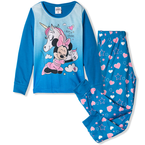 Disney Minnie Mouse Long Sleeve Pyjamas Set for Girls 2-8 Years - Blue