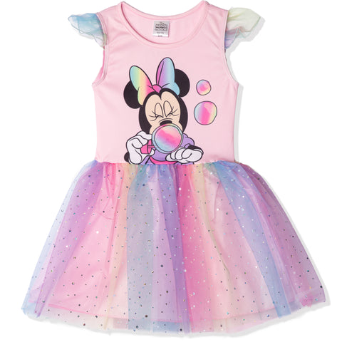 Disney Minnie Mouse Short Sleeve Tule Party Dress 3-9 Years - Pink / Rainbow
