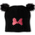 Disney Minnie Mouse Beanie Winter Hat with Pom Poms 2-10 Years - Black