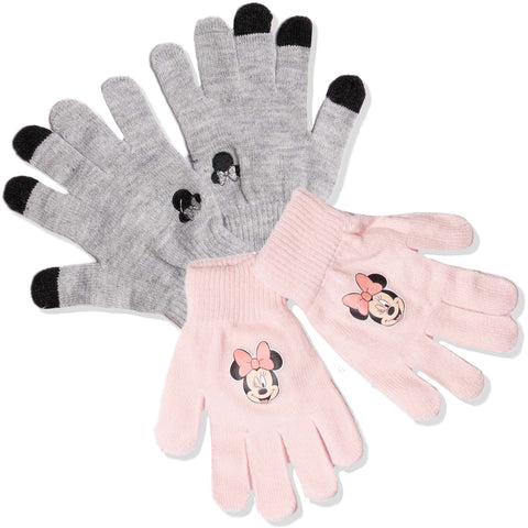 Disney Minnie Mouse Winter Acrylic Gloves - Set of 2 Pairs - One Size 2-10 years