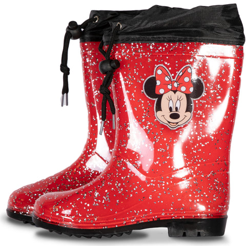 Disney - Minnie Mouse Wellies, Glitter Girl's Waterproof Wellington Boots - Red
