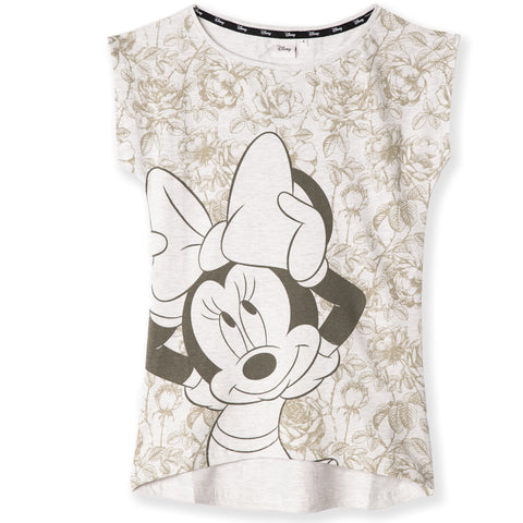 Disney Minnie Mouse Women's Cotton T-Shirt S, M, L, XL - Flowers Pattern