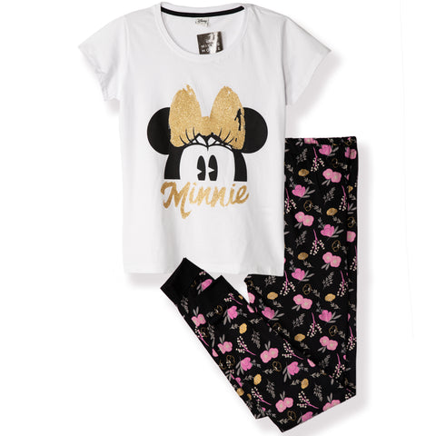 Disney Minnie Mouse Women's T-Shirt and Trousers Pyjamas Set S, M, L, XL - Flowers