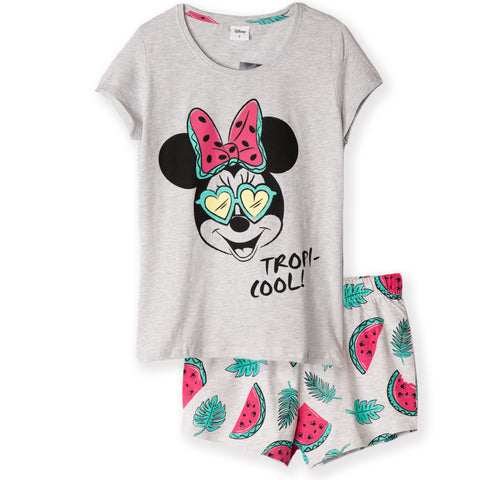 Disney Minnie Mouse Women's T-Shirt and Shorts Pyjamas Set S, M, L, XL - Tropic, Grey