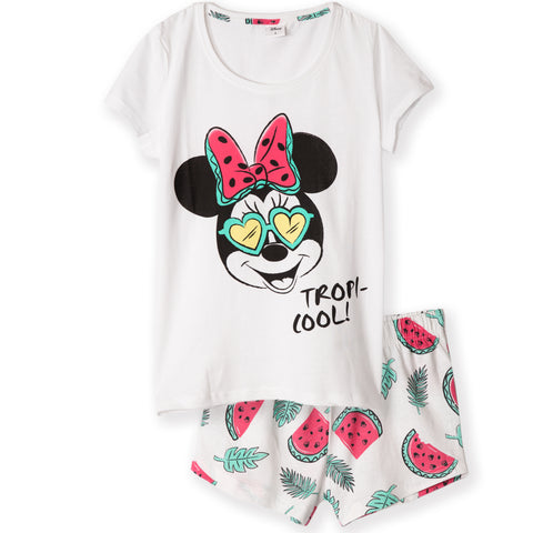 Disney Minnie Mouse Women's T-Shirt and Shorts Pyjamas Set S, M, L, XL - Tropic, White