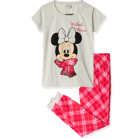 Disney Minnie Mouse T-Shirt and Trousers Women's Pyjamas Set - Grey/Red Checked