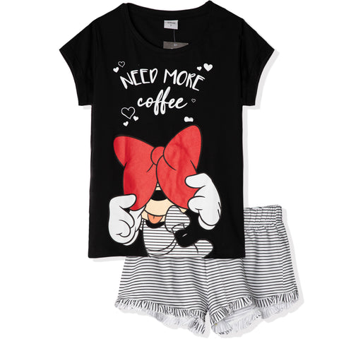 Disney Minnie Mouse  T-Shirt and Shorts Women's Pyjamas Set - Black