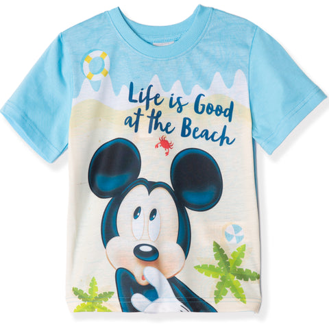 Disney Mickey Mouse Boy's Short Sleeve Cotton T-Shirt 2-8 yrs - Blue
