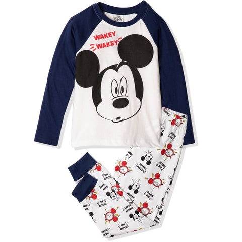 Disney Mickey Mouse Long Sleeve Pyjamas Set for Boys & Girls 2-8 Years - Blue
