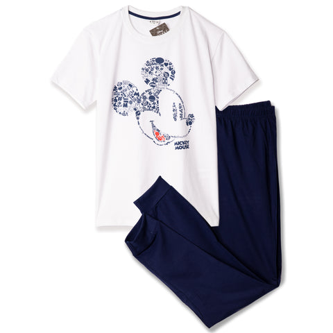 Disney Mickey Mouse Men's Pyjamas, T-Shirt and Trousers Set M- XXL - White/Navy