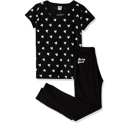 Disney Mickey Mouse T-Shirt and Trousers Women's Pyjamas Set - Black