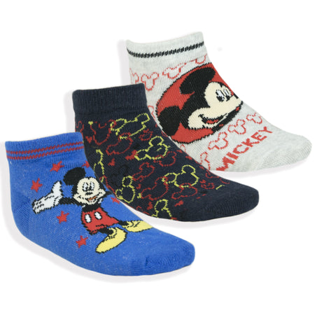 Disney Mickey Mouse Boys Ankle Trainer Socks 3-PACK Sizes from 6 UK Child - Pack A