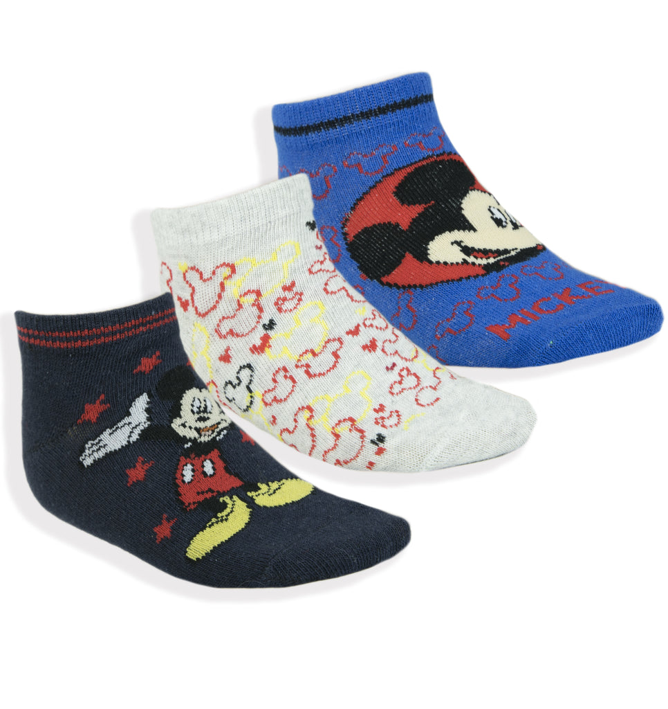 Disney Mickey Mouse Boys Ankle Trainer Socks 3-PACK Sizes from 6 UK Child - Pack B
