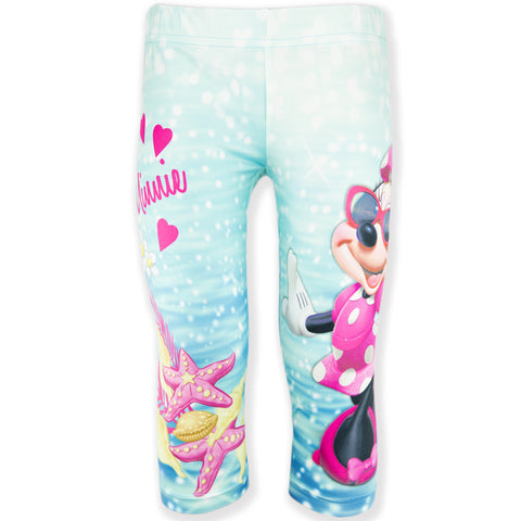 Disney Minnie Mouse Girls Cropped Leggings, Shorts 4-10 Years - Turquoise