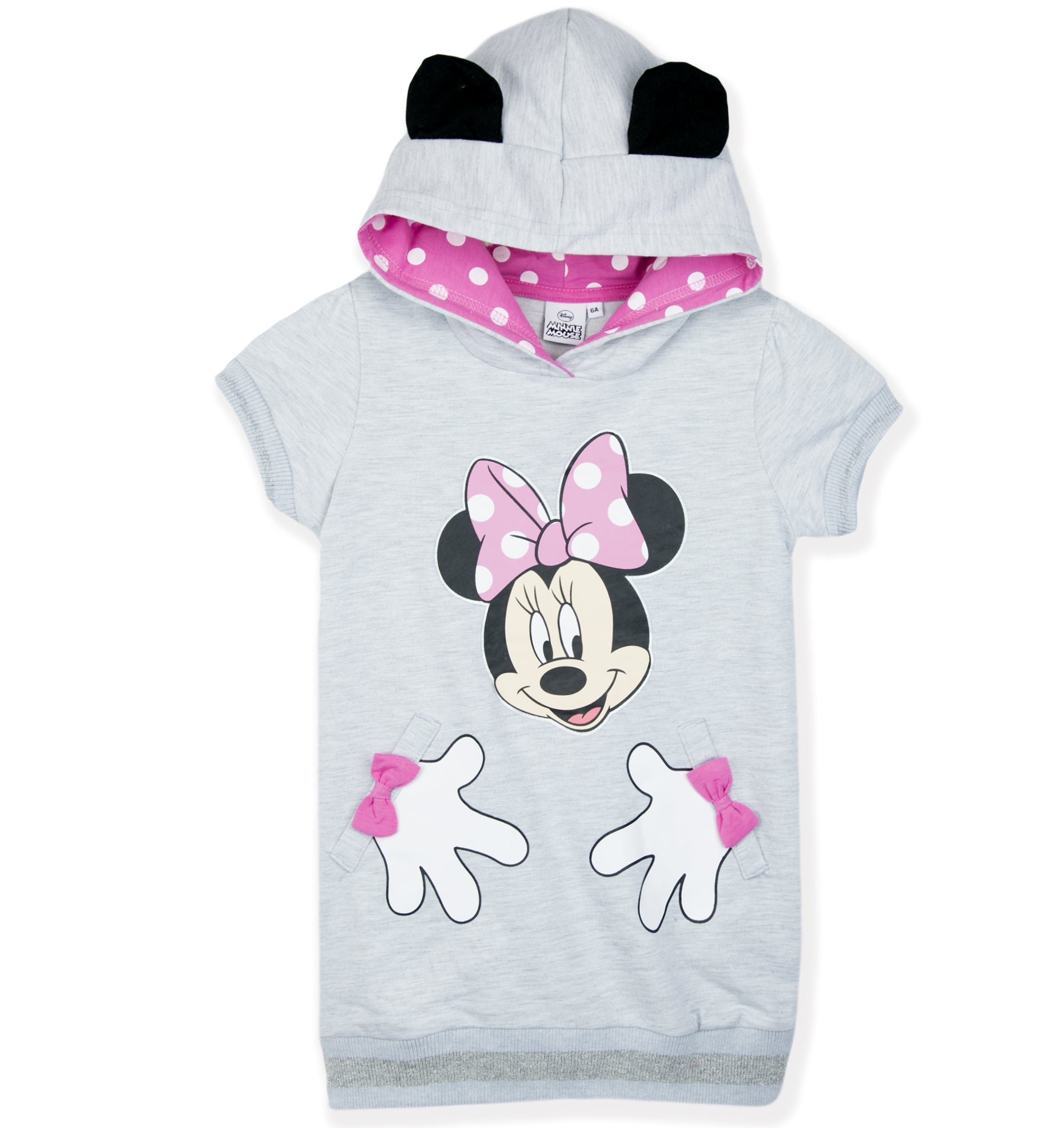 Disney Minnie Mouse Girls Short Sleeve Long Hoodie, Tunic Dress with Ears 2-8 Years - Grey