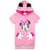 Disney Minnie Mouse Girls Long Hoodie, Tunic Hooded dress with Ears 2-8 Years - Pink