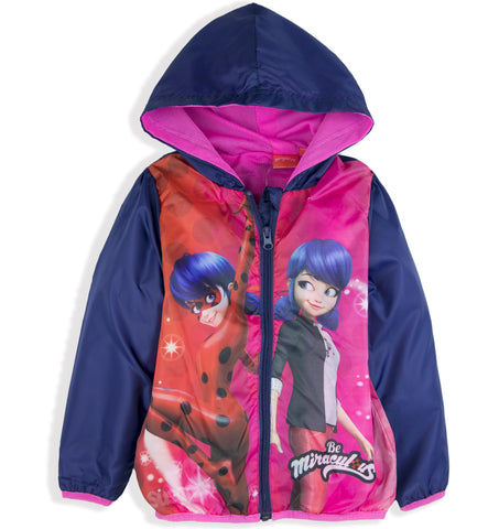 Miraculous Ladybug Girls Jacket, Spring Summer Coat Windbreaker 3-8 Years - Purple