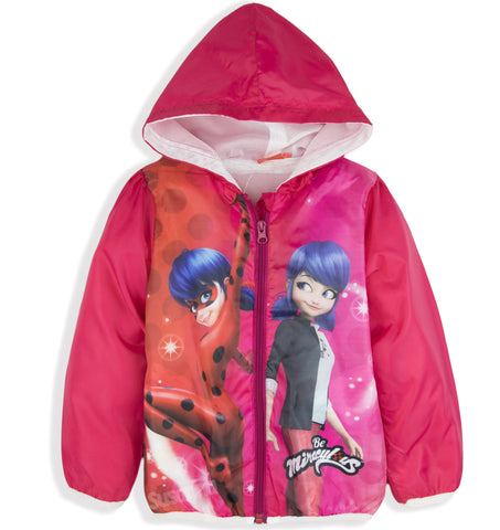 Miraculous Ladybug Girls Jacket, Spring Summer Coat Windbreaker 3-8 Years - Pink
