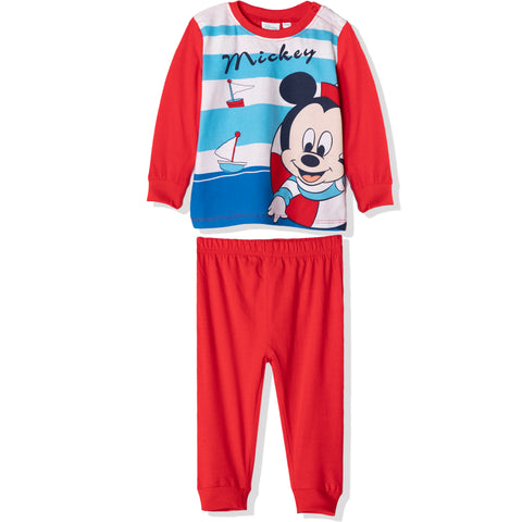 Disney Mickey Mouse Baby Boys Long Sleeve Pyjamas Set 0-24 Months - Red