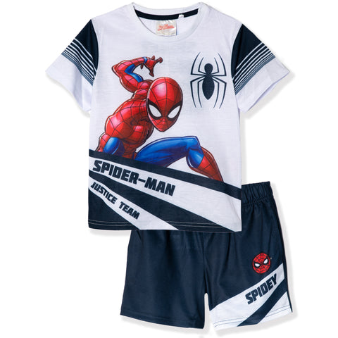 Spiderman Sport Outfit Set T-Shirt and Shorts for Boys 2-8y - White
