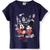 Disney Minnie & Mickey Mouse Cotton Top, T-Shirt for Girls 2-8 Years - Navy