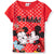 Disney Minnie & Mickey Mouse Cotton Top, T-Shirt for Girls 2-8 Years - Red