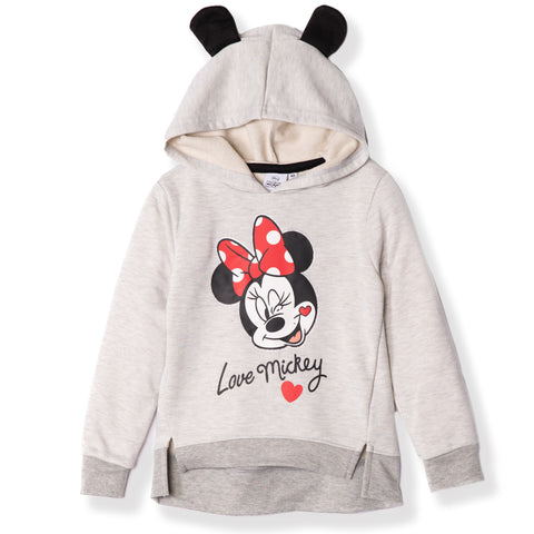 Disney Minnie Mouse Girls Hoodie, Hooded Jumper with Ears 2-8 Years - Light Grey