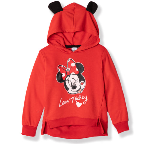 Disney Minnie Mouse Girls Hoodie, Hooded Jumper with Ears 2-8 Years - Red
