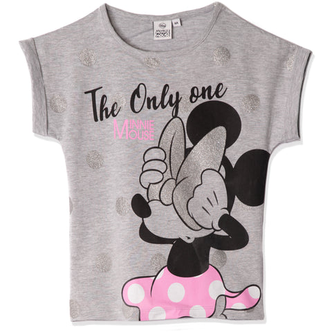 Disney Minnie Mouse Cotton Top, T-Shirt for Girls 2-8 Years - Grey