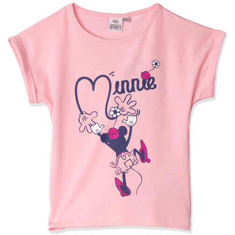 Disney Minnie Mouse Cotton Top, T-Shirt for Girls 2-8 Years - Pink