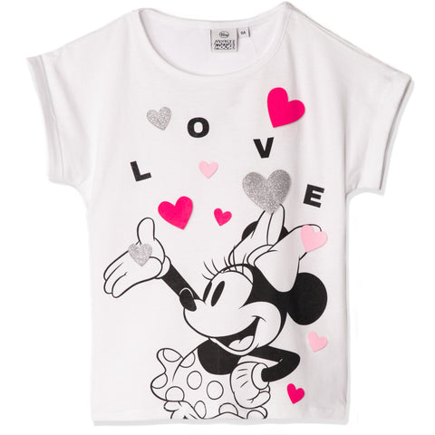 Disney Minnie Mouse Cotton Top, T-Shirt for Girls 2-8 Years - White