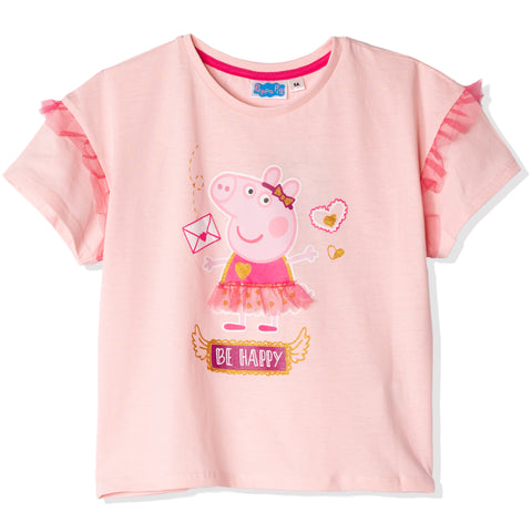 Peppa Pig 100% Cotton Short Sleeve Loose Top/T-Shirt for Girls 2-6 years - Pink