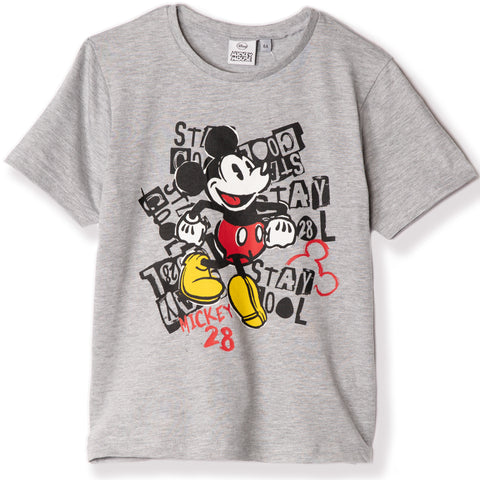 Disney Mickey Mouse Boy's Short Sleeve Cotton T-Shirt 2-8 yrs - Grey