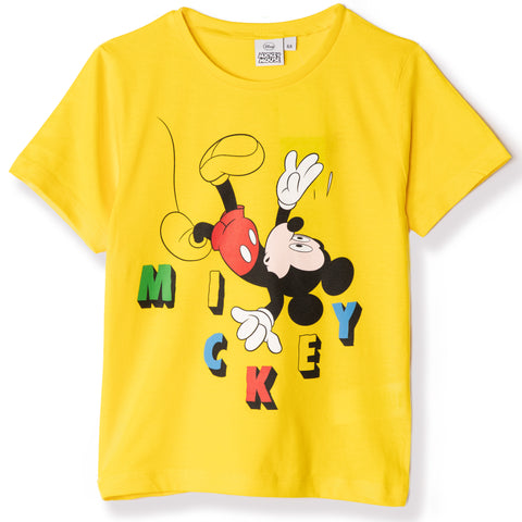 Disney Mickey Mouse Boy's Short Sleeve Cotton T-Shirt 2-8 yrs - Yellow
