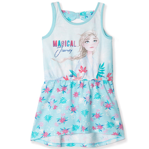 Disney Frozen 2 Short Sleeve 100% Cotton Summer Dress 3-8 Years - Blue
