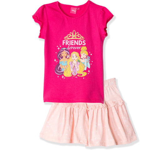 Disney Princess Girls Skirt & T-Shirt Summer Outfit Set 2-6 Years - Fuchsia