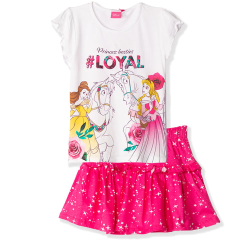 Disney Princess Girls Skirt & T-Shirt Summer Outfit Set 2-6 Years - White